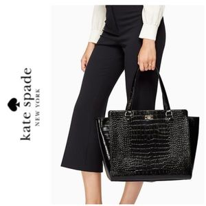 NWT Kate Spade croc leather tote black